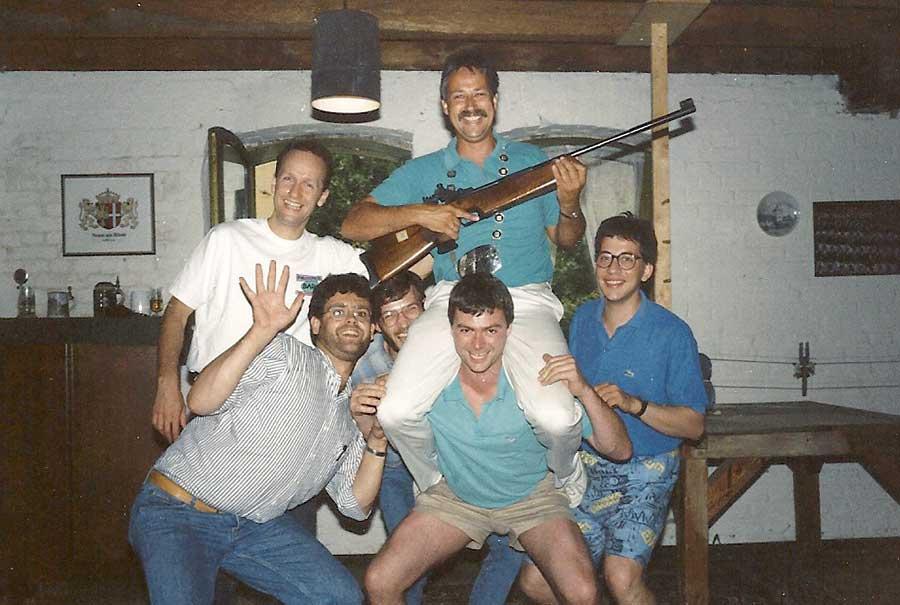 1990 Zugkönig: v.l. Dr. Bernd Kluth, Hans Mausberg (†), Holger Dahms, Dr. Thomas Kauffels, Kurt Koenemann, Jochem Dederichs