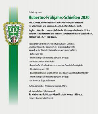 Hubertus-Frühjahrs-Schießen 2020