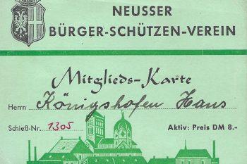 Hans Königshofen Mitgliedsausweis 1955